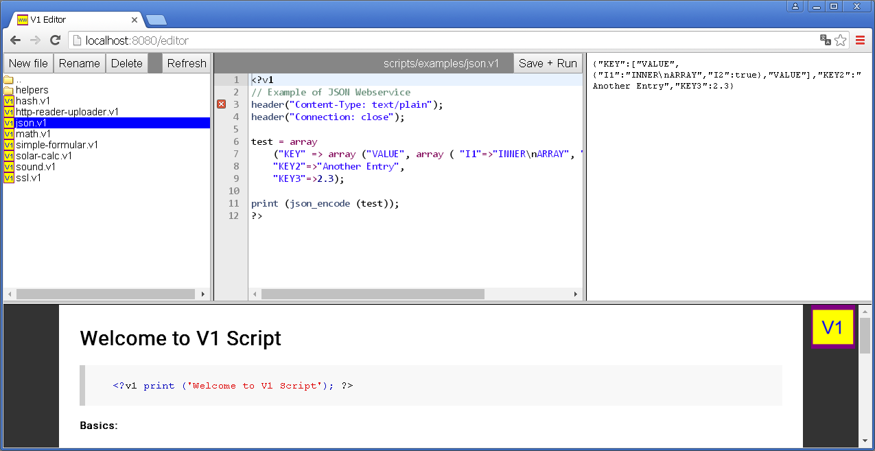 V1 Script with code editor